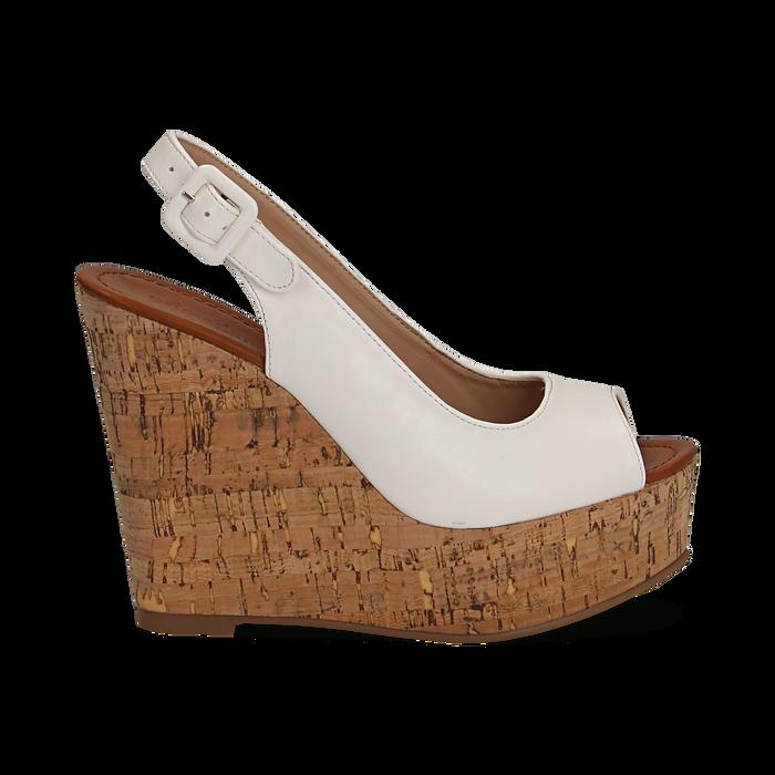 Sandali platform bianchi in eco-pelle, zeppa in sughero 12 cm , Primadonna, 134907982EPBIAN035