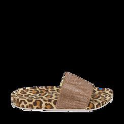 Ciabatte leopard in pvc con strass, 154700973PVLEMA035, 001a