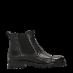 Chelsea Boots neri in vera pelle, Scarpe, 126905552VINERO036, 001a