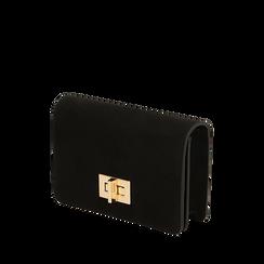 Borsa piccola nera in microfibra , IDEE REGALO, 165122947MFNEROUNI, 002a