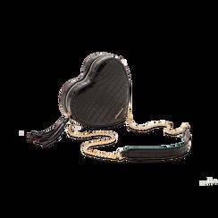 Borsa a tracolla nera forma a cuore, in ecopelle stampa coccodrillo, Borse, 125921719CCNEROUNI, 003 preview