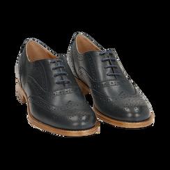 Oxford de piel en color azul marino, Zapatos, 159908418PEBLUE036, 002 preview