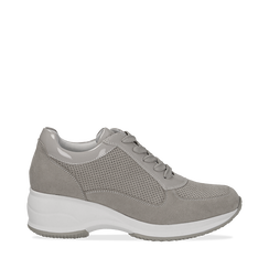 Sneakers grigie in microfibra con profili in vernice, zeppa 4,50 cm, Scarpe, 132899053MFGRIG036, 001a