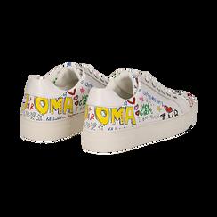 Sneakers bianche in eco-pelle con scritte cartoon , Scarpe, 139301164EPBIAN036, 004 preview