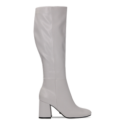 Stivali bianchi punta arrotondata, tacco 7,5 cm, Scarpe, 122182011EPBIAN036, 001a
