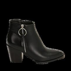 Ankle boots à pointe noire, talon 7,50 cm, Primadonna, 160598319EPNERO036, 001a