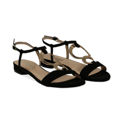 Sandali neri in microfibra con dettaglio gold, Primadonna, 139640157MFNERO036, 002 preview