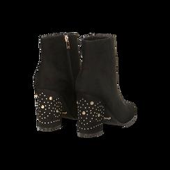 Tronchetti neri con mini-borchie, tacco 9,5 cm, Scarpe, 122186683MFNERO, 005 preview