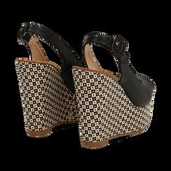 Sandali platform neri in eco-pelle, zeppa intrecciata 13 cm , Primadonna, 134907984EPNERO036, 004 preview