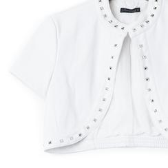 Giacca bolero bianca in eco-pelle con borchie, Saldi Estivi, 136518172EPBIANL, 002a