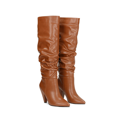 Stivali cuoio gambale drappeggiato, tacco a cono 10 cm, Scarpe, 124911206EPCUOI, 002 preview