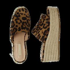 Zeppe platform leopard in eco-pelle, zeppa in corda 7 cm, Saldi, 132708151MFLEOP036, 003 preview