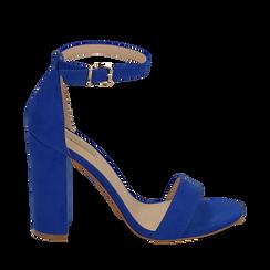 Sandali blu cobalto in microfibra, tacco 10,50 cm, Scarpe, 152706086MFBLCO035, 001a
