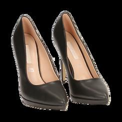 Salones negro con meseta, tacón 12 cm, Zapatos, 162106051EPNERO036, 002 preview