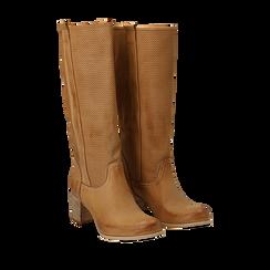 Stivali in nabuk colore cuoio con gambale traforato, Scarpe, 117000012NBCUOI036, 002a