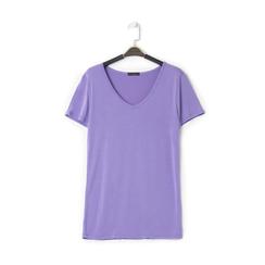 T-shirt con scollo a V lilla in tessuto, Saldi Estivi, 13F750713TSLILLL, 001a