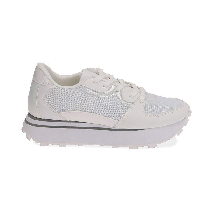 Sneakers bianche in tessuto tecnico , Primadonna, 177519601TSBIAN035