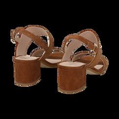 Sandali cuoio in camoscio, tacco chunky 6 cm, Primadonna, 13D602056CMCUOI036, 004 preview