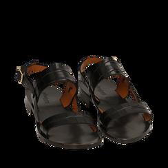 Sandales noires en cuir imprimé crocodile, Primadonna, 15D620010CDNERO036, 002a