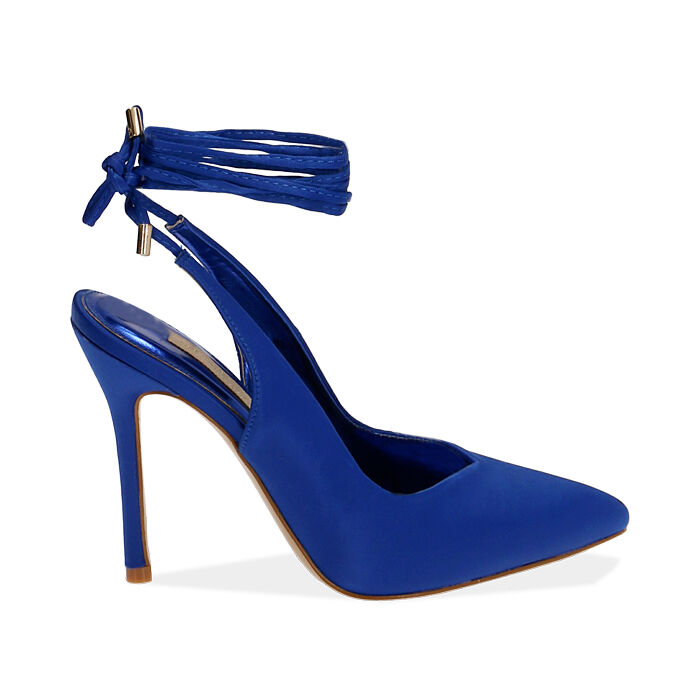 Slingback lace-up blu in raso, tacco 11 cm, Primadonna, 172168642RSBLUE036