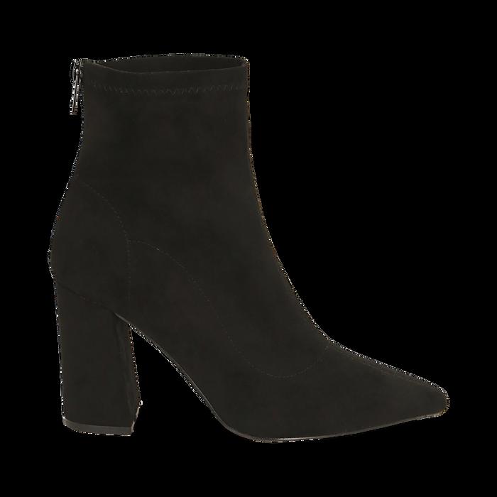 Ankle boots en microfibre noir, talon 9 cm, Primadonna, 164823107MFNERO035