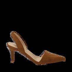 Slingback marroni in microfibra, tacco a rocchetto 7,5 cm , Scarpe, 132133671MFMARR035, 001a