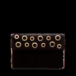 Pochette bustina nera in microfibra con oblò dorati, Borse, 123308604MFNEROUNI, 001a