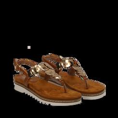 Sandali infradito cuoio in eco-pelle con suola bianca, Scarpe, 134922304EPCUOI035, 002a