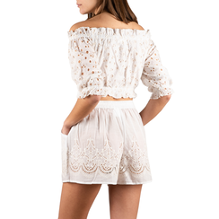 Shorts bianchi in tessuto , 150503108TSBIANUNI, 002a