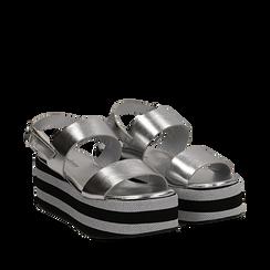 Sandali platform argento in eco-pelle, zeppa 6 cm , Saldi, 132175017LMARGE035, 002a