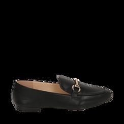 Mocassins noir simili cuir, Chaussures, 154939181EPNERO035, 001a