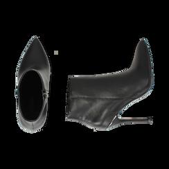Ankle boots neri in eco-pelle, tacco 10, 50 cm , Scarpe, 142168616EPNERO035, 003 preview