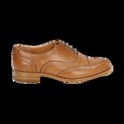 Oxford de piel en color cuero , Zapatos, 159908418PECUOI036, 001 preview
