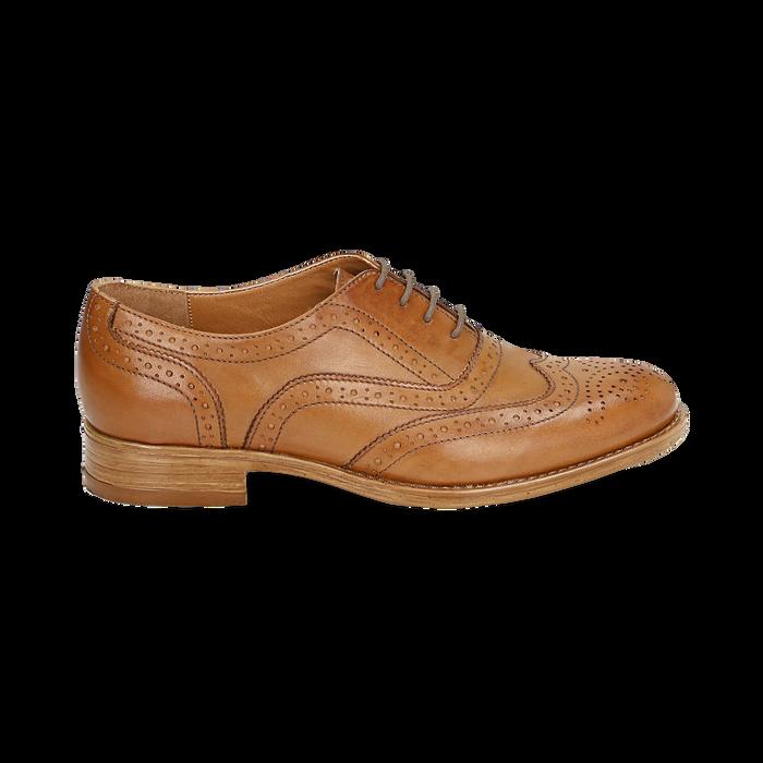 Oxford de piel en color cuero , Zapatos, 159908418PECUOI036