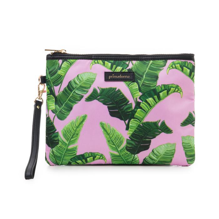 Pochette verde in raso con stampa jungle, Saldi Estivi, 115910014RSVERDUNI