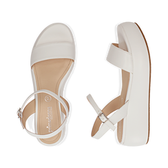 Sandali bianchi in eco-pelle, zeppa 5 cm , Chaussures, 159790131EPBIAN037, 003 preview