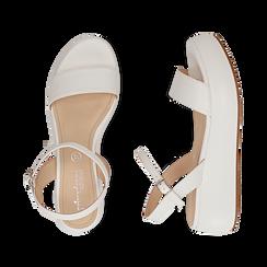 Sandali bianchi in eco-pelle, zeppa 5 cm , Zapatos, 159790131EPBIAN037, 003 preview