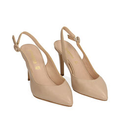 Slingback beige de piel, tacón 9 cm, Zapatos, 15D601002VIBEIG037, 002a