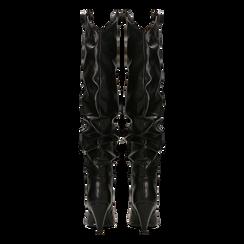 Stivali sopra il ginocchio neri, tacco cono 8 cm, Primadonna, 124995700EPNERO, 003 preview