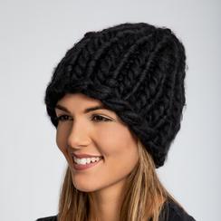 Berretto invernale nero in tessuto filato XL, Saldi Abbigliamento, 12B444008TSNEROUNI, 001a
