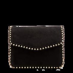 Pochette con tracolla nera in microfibra scamosciata, profili mini-borchie, Saldi Borse, 123308852MFNEROUNI, 001a