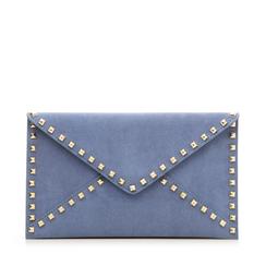 Pochette borchiata azzurra in microfibra, Borse, 133302219MFAZZUUNI, 001a