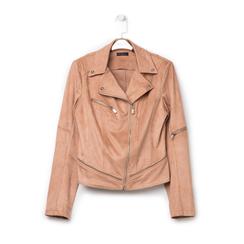 Biker jacket nude in microfibra con zip e boules, Primadonna, 136501757MFNUDEL, 001a
