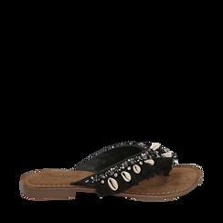 Ciabatte infradito nere in raso con conchiglie, Chaussures, 15K808336RSNERO035, 001a