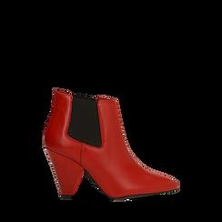 Chelsea Boots rossi in vera pelle, tacco a cono 9 cm, Primadonna, 12D613910VIROSS035, 001a