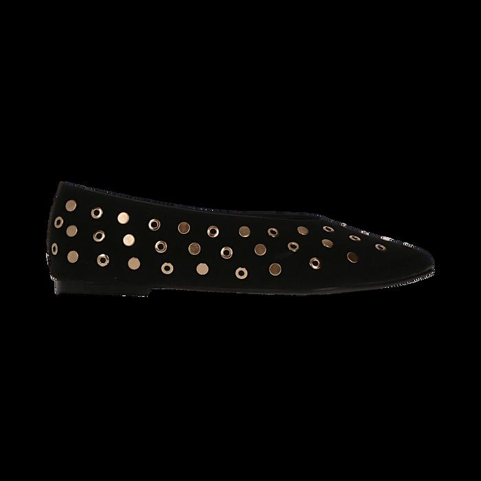 Ballerine nere in microfibra scamosciata e mini-borchie, tacco basso, Primadonna, 124991821MFNERO035