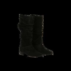 Stivali Neri in vero camoscio con gambale morbido, tacco 2,5 cm, 128900900CMNERO035, 002