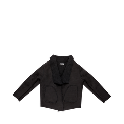 Giacca nera corta in eco-montone, Abbigliamento, 12B408605MFNERO, 001a preview