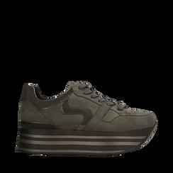 Sneakers grigie con maxi platform a righe, 122800321MFGRIG036, 001a