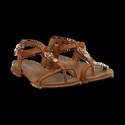 Sandali cuoio in eco-pelle,